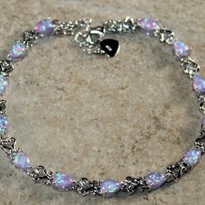 Purple Fire Opal Teardrop Bracelet Jewelry